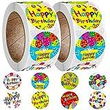 Adesivi Buon Compleanno Rotolano, FANDE 2 Rotolo di Nastro Adesivo Creativo, Fai da Te Multifunzione Autoadesiva Confezione Regalo Etichette Imballaggio, Etichette adesive Rotonde