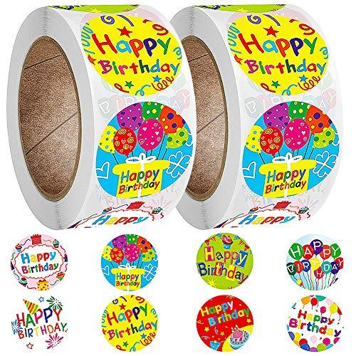 FANDE Alles Gute zum Geburtstag Etiketten, 1000 Etiketten selbstklebend, Runder Aufkleber - zum Basteln Verzieren Geburtstag Geschenke Verpackung Geschenkverpackung, 1 Zoll
