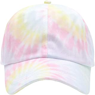 MIRMARU 100% Cotton Colorful Tie Dye Dad Hat - Pastel Spiral Baseball Cap with Size Adjustable Strap for Women and Men.