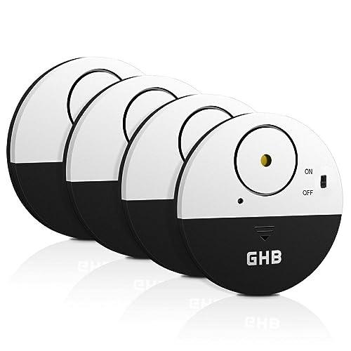 GHB 4PCS Alarme Porte Fenêtre Alarme Porte sans Fil 100dB Capteurs de Vibrations Design Ultra Fin pour Fenêtres et Portes-Noire
