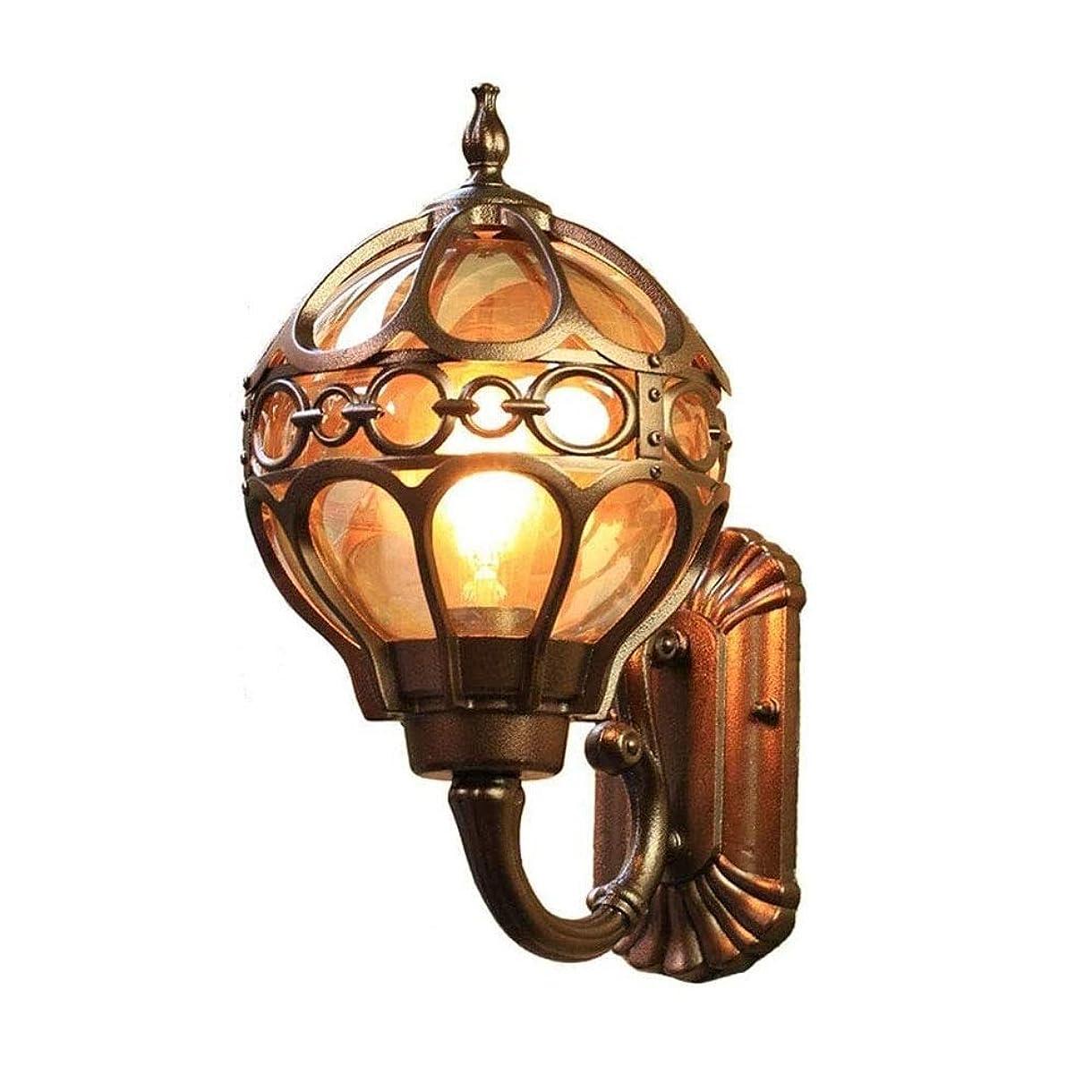 居住者おもてなし薬壁ランプ屋外ランプアンティークコーヒーゴールドラウンド防水IP54キャストアルミニウムとガラスの影屋外ランプレトロE27ガーデンランプハウスのエントランス庭ランプ屋外の壁ランプ