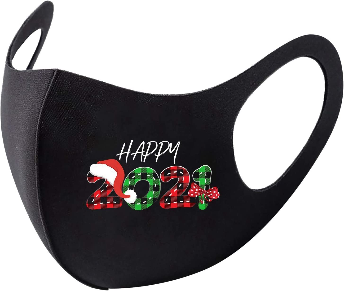 BEUU 1PCS Happy New Year 2021 Face Mack Fashion Design Washable Reusable for Outdoor and Indoor Full Face Protection