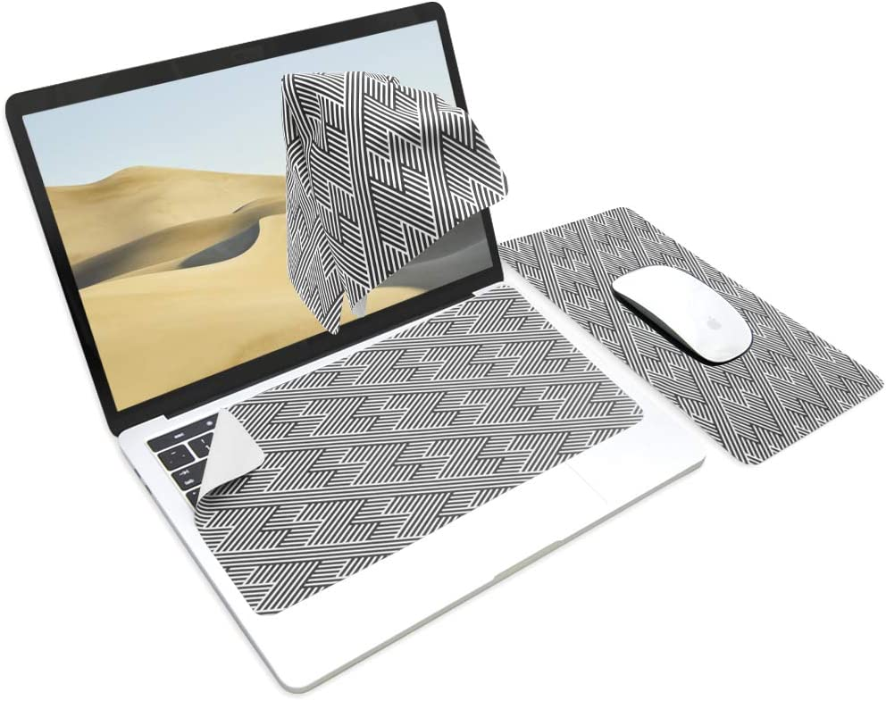 SenseAGEx Ekax 3-in-1 Mouse Pad, Multi-Functional Microfiber Mouse Pad for Laptop, Portable & Washable Keyboard Mat, Monitor Protection, Monitor Cleaning All in One, Abstract Outline