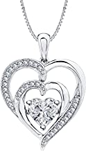 tusakha Valentine's Day Love Gift Double Heart Colors in Pendant Necklace Heart Shaped Lab-Created White CZ Diamond 14K White Gold Over .925 Sterling Silver