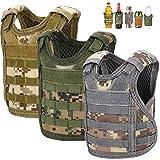 Accmor Beer Vest Tactical Mini Beer Jacket, 3 Pack Molle Adjustable Bottle Coozy Vest Beverage Cooler Holder Drink Vest for 12oz or 16oz Cans or Bottles Decoration, Gift for Christmas & Father's Day