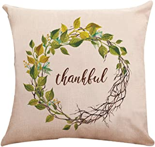 Unionm Pillow Covers Thanksgiving Decor Throw Pillow Case Cotton Linen Wreath Pattern Autumn Fallen Leaves 45 x 45 cm 18 x 18 inch Cushion Cover for Home Sofa Car 1 Pack - 9