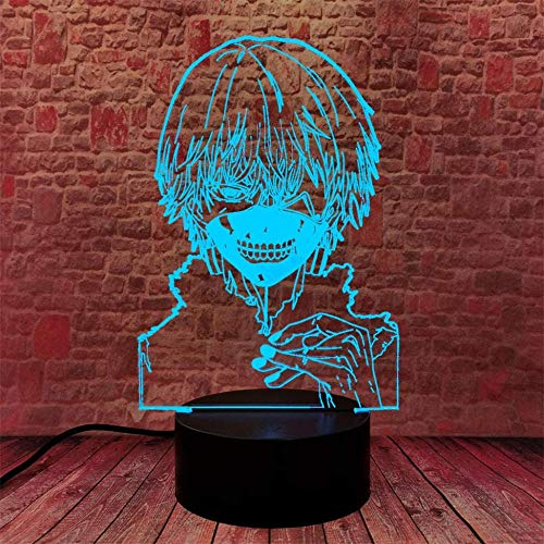 Luz de noche 3D Tokyo Ghoul Kaneki para niños lámpara de escritorio con interruptor táctil Control remoto 16 colores para regalos cumpleaños Festival dormitorio decoración