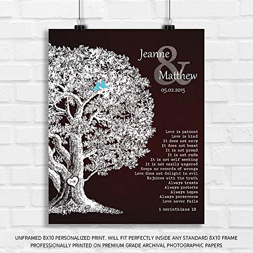 Personalized Gift Family Tree Anniversary Plaque 1 Corinthians 13 Carved Initials Love is Patient Oak Tree Brown Background - 8x10 Unframed Paper Art Print