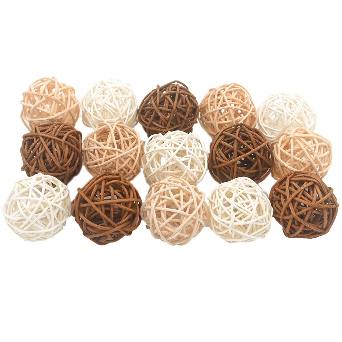 ALLHEARTDESIRES 15PCS Mixed Cream Tan Brown White Rattan Cane Wicker Wooden Ball Rustic Wedding Vintage Baby Shower Birthday Nursery Decoration