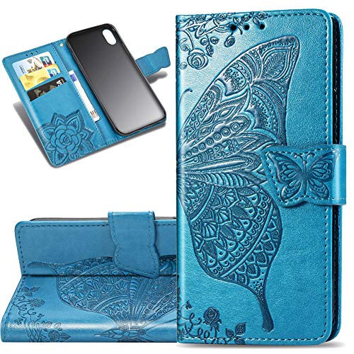COTDINFOR Etui für Xiaomi Redmi 7A Hülle PU Leder Schutzhülle Magnet Tasche Flip Handytasche im Bookstyle Kartenfächer Lederhülle für Xiaomi Redmi 7A Flower Butterfly Blue SD