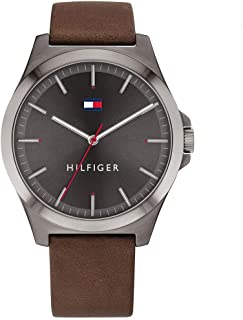 Tommy Hilfiger men's Grey Dial Brown Leather Watch - 1791717