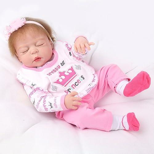 QXMEI Simulation Rebirth Puppe Silikon Kann Wasserbad Cute Baby Spielzeug Kinder Geburtstagsgeschenk 55CM