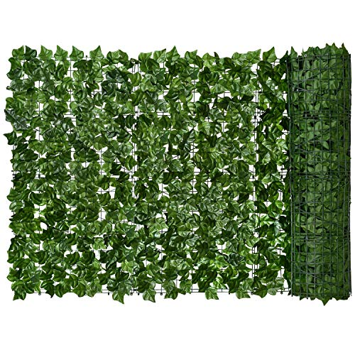 """Lvydec Artificial Ivy Privacy Fence Screen, 157"""" x 59"""" Artificial Hedges Fence and Faux Ivy Vine Leaf Decoration for Outdoor Garden Porch Patio"""