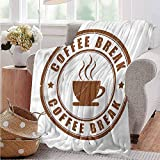 Luoiaax Coffee Bedding Flannel Blanket Worn Out Coffe Seal Super Soft and Comfortable Luxury Bed Blanket W80 x L60 Inch
