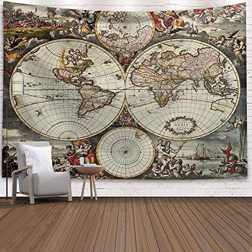 WERT Mapa del Mundo 3D geométrico Tapiz Colgante de Pared Toalla de Playa decoración del hogar Tapiz de Tela de Fondo A2 180x200cm