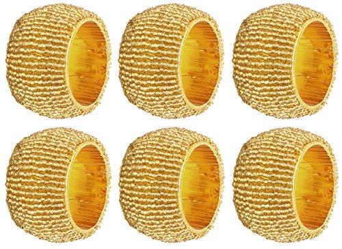 SKAVIJ Fait Main Perles de Verre Anneaux de Serviette Set Ramadan, Eid Décoration pour Table à Manger (Dia-6.35 cm, 6 pièces, Or)