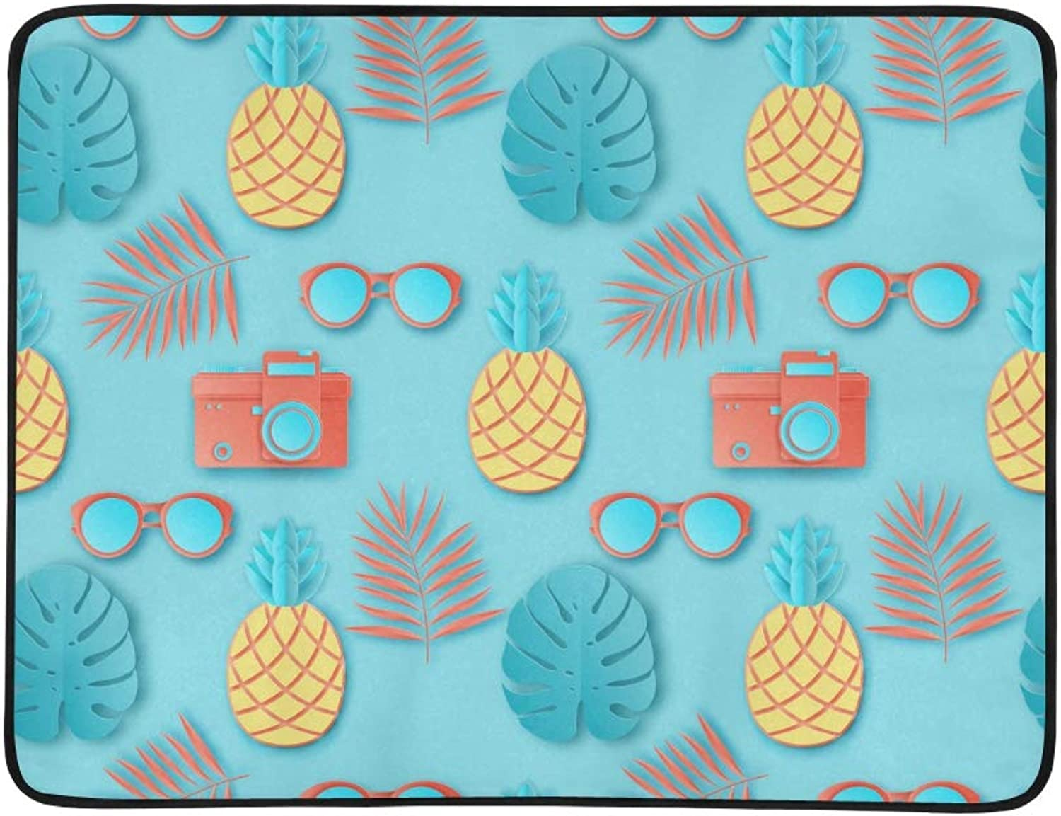 The Sun and Hibiscus Stripes Pattern Portable and Foldable Blanket Mat 60x78 Inch Handy Mat for Camping Picnic Beach Indoor Outdoor Travel