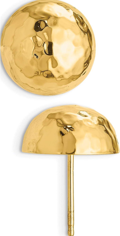 14K Yellow Gold Hammered Half Ball Post Earrings (Length=13) (Width=13)