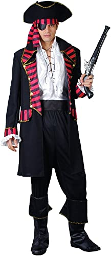 (XL) X Large Mens Deluxe Pirate Captain Costume for Buccanneer Fancy Dress Outfit