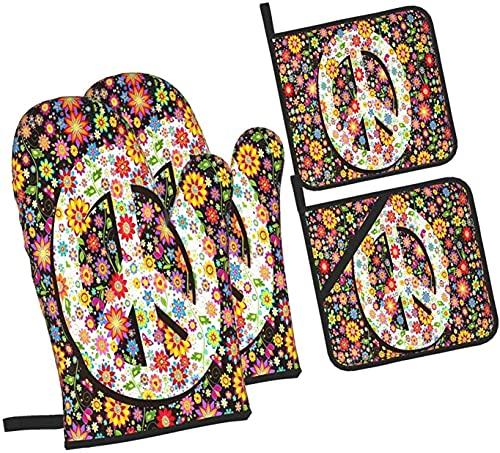 Hippie - Símbolo floral de la paz con varias flores para horno y agarraderas, juego de 4 piezas, soporte profesional a prueba de agua para ollas y guantes para hornear