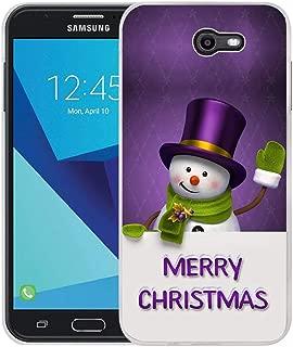 Compatible for Samsung J7 Christmas Case, Viwell Design Pattern Case, Galaxy J7 V Case, Galaxy J7 Perx Case, Galaxy J7 Sky Pro/Galaxy Halo Case, for Samsung Galaxy J7 2017 Case Cartoon Snowman