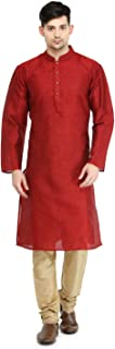 Indian Men's Kurta Pyjama Set Wedding Festive Party Dress Dupion Silk Set S-5XL