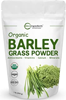 Sustainably US Grown, Organic Barley Grass Powder, 1 Pound, Rich Fibers, Vitamins, Minerals, Antioxidants, Chlorophyll, Essential Amino Acids and Protein. No Irradiated, No GMOs and Vegan Friendly.