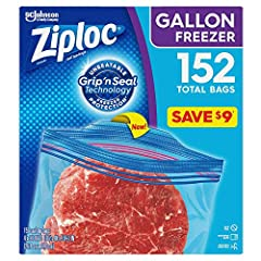 """152 bags total Bag Dimensions: 10 9/16"""" x 10 3/4"""" Heavy-duty construction Patented double zipper Easily closes together for a secure seal"""