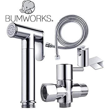 Bumworks Handheld Bidet Cloth Diaper Sprayer for Toilet | Bum Gun Butt Washer, Hand Held Bidet Hose Attachment Water Jet Spray Set | Baday Toilet Kit (Bedit Toilet Badae Biday Boday Toilet Seat)