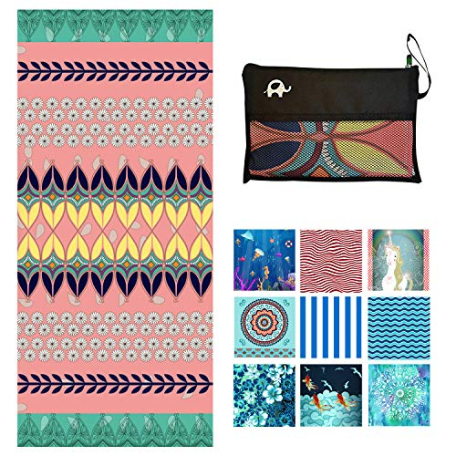 Microfiber Beach Towel Oversized - XL 78 x 35 Inch Lightweight, Quick Dry, Sand Free, Extra Large - Perfect for Swimmers, Camping, Travel, Yoga Bohemian (Bohemian, Extra Large (78X35-INCH))