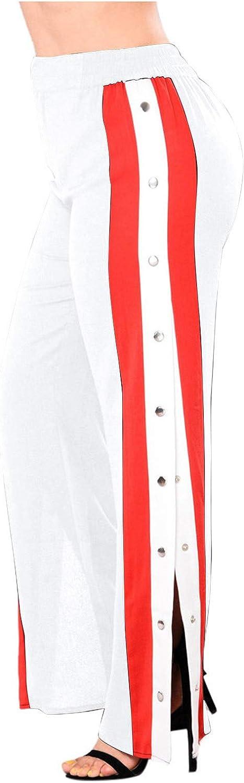 Yuege Women Casual Sexy Loose Stretch High Waist Wide Leg Long Pants