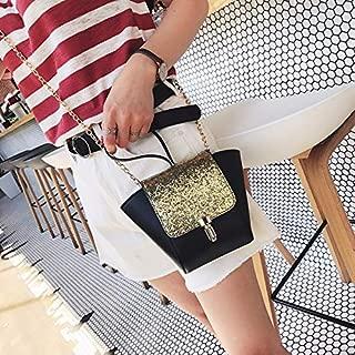 Fashion Single-Shoulder Bags Leisure Fashion PU Shoulder Bag Messenger Bag Handbag (Black) (Color : Gold)