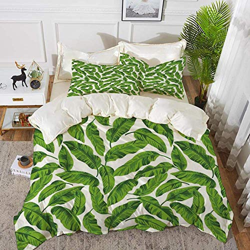 161 Leaf,Exotic Hawaiian Summer Foliage Island Holiday Summer Greenery Leaves Print,Fern Gr,Hypoallergenic Microfibre Duvet Cover Set 230 x 220cm with 2 Pillowcase 50 X 80cm