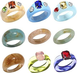 9PCS Resin Acrylic Rings for Women Lovely Colorful Crystal Chunky Stackable Finger Ring Trendy Geometric Knuckle Band Ring...