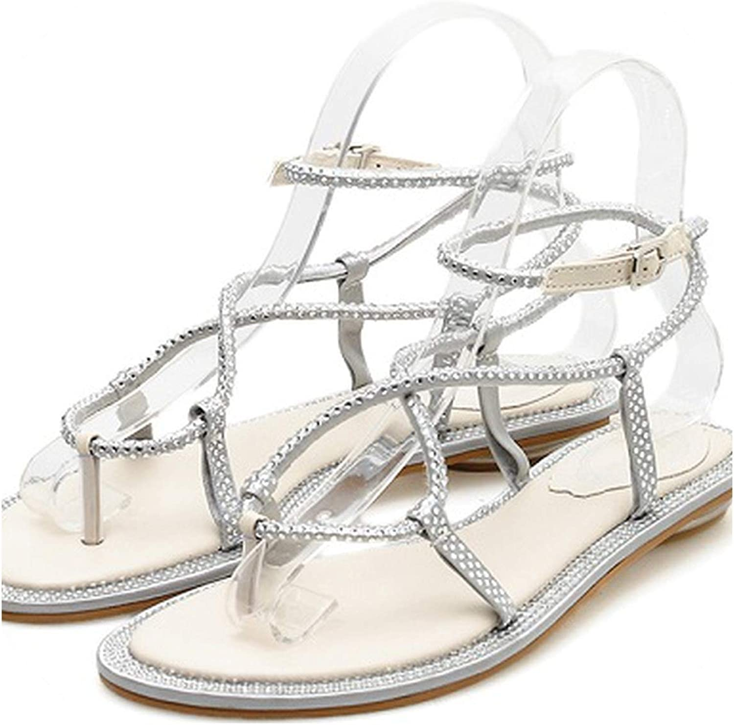 RAINIE002 2019 Woman Sandalswomen shoes Rhito Gladiator Flat Sandals Crystal Flip Flops Silver Size 35-39
