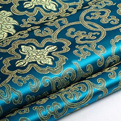 Brokatstoff mit Chinesischer Blumen-Stickerei, Seidiger Satin-Stoff,Verkauft per Meter (Blaugrünes Blau)
