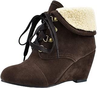 JOJONUNU Women Classic Wedge Heel Booties Winter Fleece