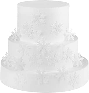 GEORLD 48pcs Wafer White Edible Snowflakes Cupcake & Cake Toppers Decoration for Winter Frozen Theme Party