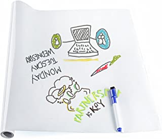 Whiteboard Sticker Wall Paper Self Adhesive Large Whiteboard Wall Paper Dry Erase Message Board Wall Decal Peel and Stick Wallpaper for Home Office School with a Free Marker Pen, 17.7 x 78.7 inches