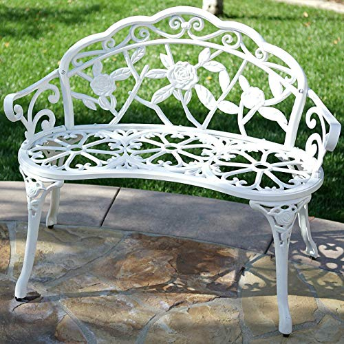 ADHW 39' Antique Design Style Patio Porch Garden Bench Cast Aluminum Outdoor Home (Color : White)