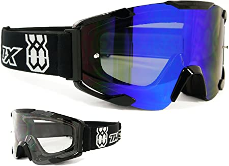 Two X Bomb Crossbrille Schwarz Glas Light Verspiegelt Blau Mx Brille Motocross Enduro Spiegelglas Motorradbrille Anti Scratch Mx Schutzbrille Auto