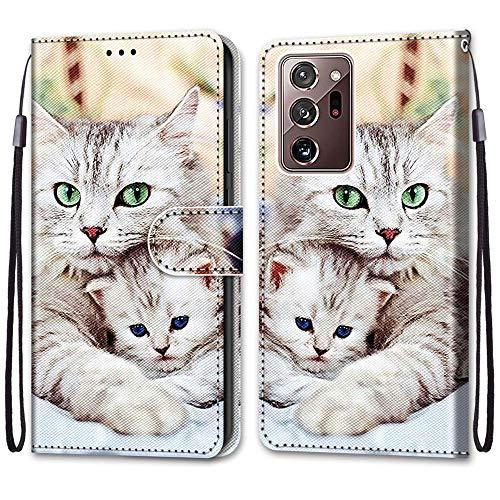 Nadoli Handyhülle Leder für Samsung Galaxy Note 20 Ultra,Bunt Bemalt Niedlich Katze Trageschlaufe Kartenfach Magnet Ständer Schutzhülle Brieftasche Ledertasche Tasche Etui