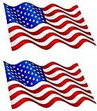 Michael & Rene Pflüger Barmstedt 9 x 5 cm - 2 x Mini Aufkleber Fahne USA wehend Flaggen Sticker Autoaufkleber