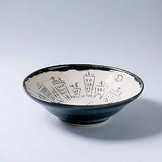 Cuenco de cerámica rústico hecho a mano decoración del hogar pintura bajo vidriado esmalte azul oscuro transparente y text...