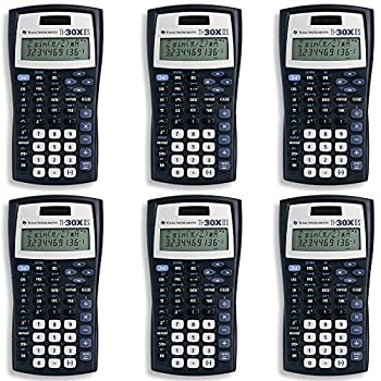 Texas Instruments TI-30X IIS 2-Line Scientific Calculator Black with Blue Accents 6 Pack
