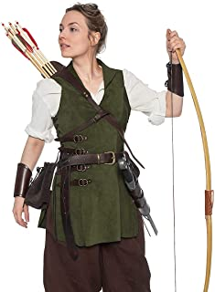 Andracor - Leather jerkin for Women - Suede Armor with Collar and Side Buckles - LARP, Medieval, Viking - Various Natural Colors - - Green - S (US 8)