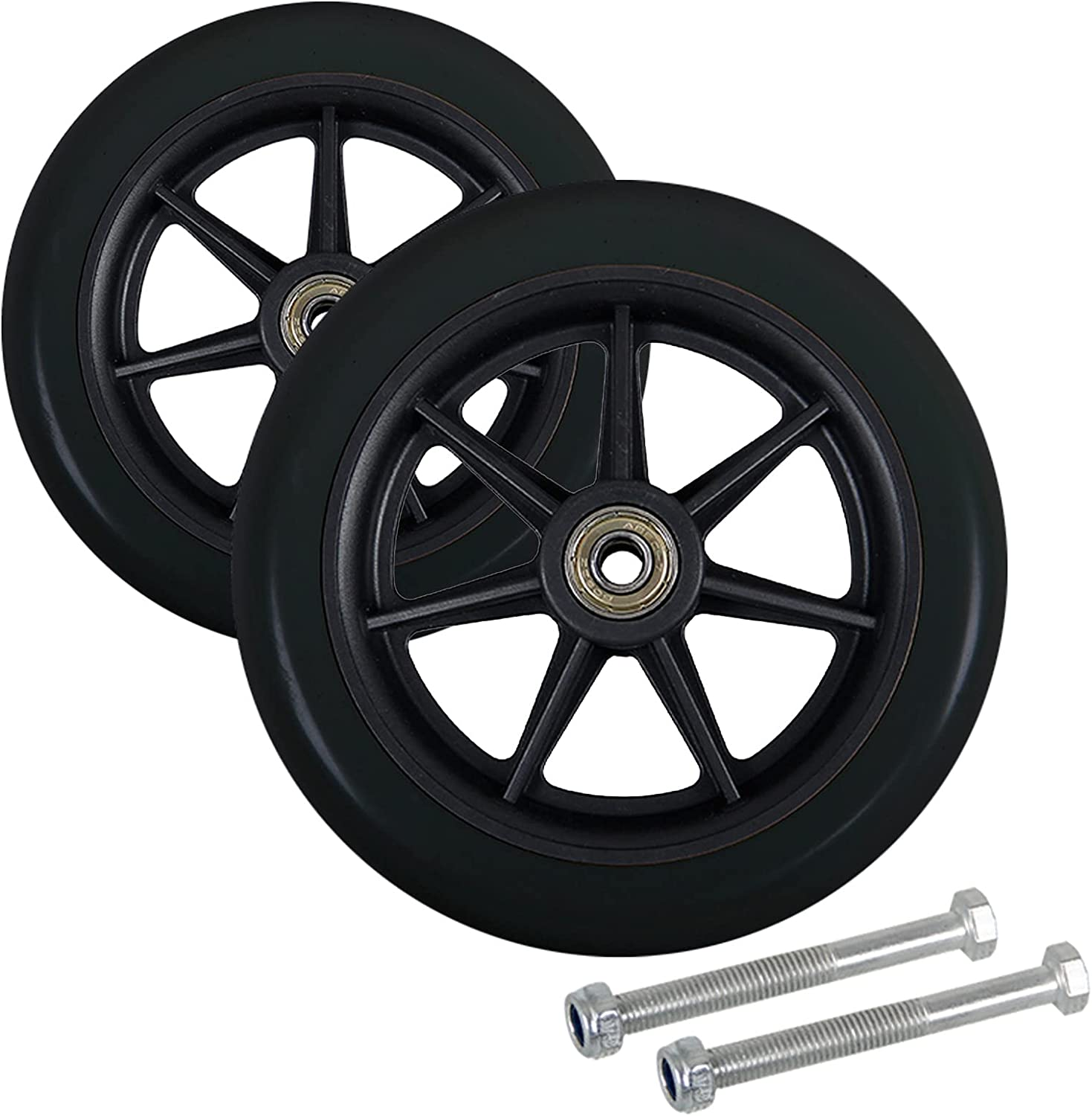 XIAOYUE Replacement Max 41% OFF 6-inch Walker Solid Wheels Gorgeous Wheelchair Black