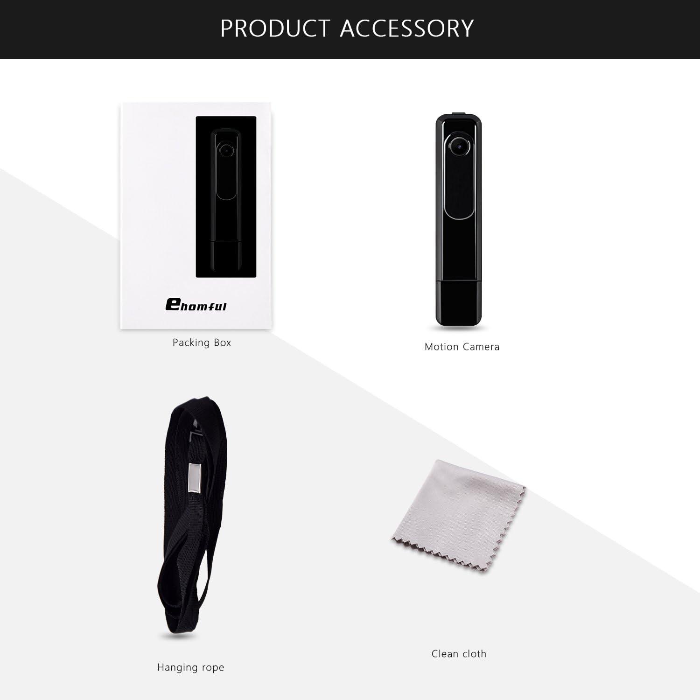 Body Camera HD 1080P, Ehomful Wearable Mini Camera Wireless,Portable Pocket Camera,USB Plug and Play with 32GB Micro SD Card Class 10