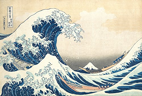 Hokusai, Katsushika - IThe Great Wave - Poster Japanische Zeichnung - Grösse 91,5x61 cm