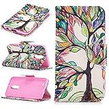 LMAZWUFULM Hülle für Honor 5C / 7 Lite/Huawei GT3 5,2 Zoll PU Leder Magnet Brieftasche Lederhülle Fröhlicher Baum Muster Stent-Funktion Ledertasche Flip Cover